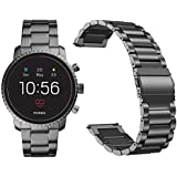 Diruite for Fossil Q Explorist HR Band Strap, 22mm Stainless Steel Metal Replacement Strap Band for Fossil Gen 4 Q Explorist HR/Fossil Gen 3 Q Explorist Smartwatch - Black