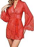 Lencería sexy para mujer, encaje, vestido de noche + tanga rojo A S