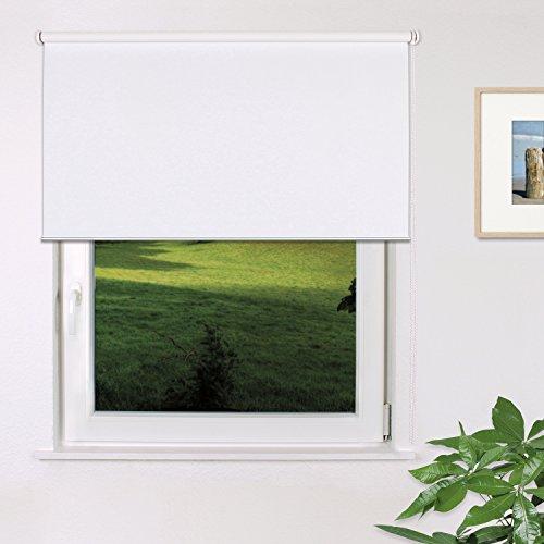 Fensterdecor Fertig Verdunkelungs-Rollo, Sonnenschutz-Rollo zum Abdunkeln von Räumen, Blickschutz-Rollo in Weiß, lichtundurchlässig und Blickdicht, 130 x 230 cm