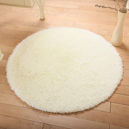 Shaggy Shag Collection Teppich, weiche Mikrofaser Runde Bereich Teppich, rutschfeste Computerstuhl Teppich Tatami für Schlafzimmer Nacht Matte-Creme-Farbdurchmesser120cm (47 Zoll) MISU