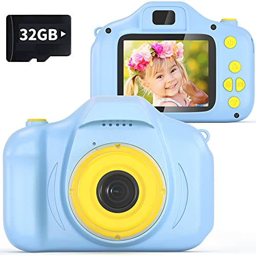 VATENIC Kids Camera Best Christams Gift for Girls Age 3-12, Children Digital Cameras for KidsToys 1080P 2 Inch Toddler Video for 3-10 Year Old Girls Boys with 32GB SD Card (Blue)