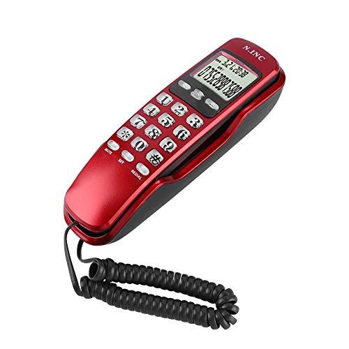 VBESTLIFE Mini ID Display LCD telefoon vast met DTMF/FSK draad Domeston met microfoon handsfree voor thuis kantoor hotel, Rood