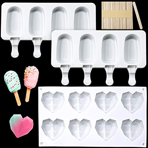8 Cup Heart Diamond Shaped Cake Mold Tray Silicone Dessert Mould, 2 Pieces 4 Cavities Oval Ice Cream Molds Popsicle Molds with 50 Pieces Wooden Sticks for Baking Chocolate DIY Ice Cream