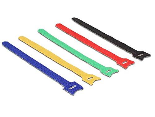 Delock 18635 Kabelbinder Klettverschluss 10 STK L200 x B12 mm Set, Schwarz, Blau, Grün, Rot, Gelb