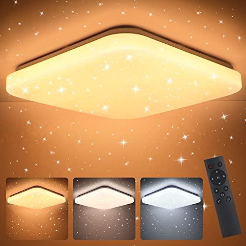 Oeegoo Lámpara LED de techo regulable, 24W plafón LED, ajustable con mando a distancia, LED plafon con cielo estrellado para habitación infantil, sin parpadeo, Luz de dormitorio, salón, 3000-6500K
