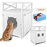 Masthome - Lettiera per gatti con 2 panni di pulizia, con 6 fori di aerazione per animali domestici, dimensioni: 52 x 48,5 x 63,5 cm, colore: Bianco
