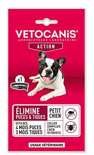 VETOCANIS Collier Antipuces/Anti-Tiques pour Chien Vetobotic Protection 4 Mois Puces/ 3 Mois Tiques Collier Noir pour Petit Chien de 2-10 kg