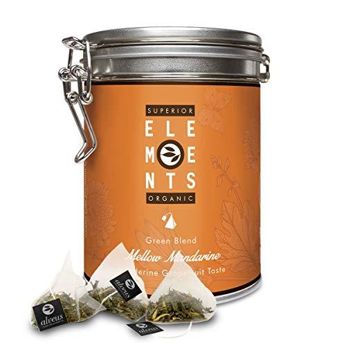 Mandarine-Grapefruit Bio Grüner Tee im Beutel, Mellow Mandarine, Grüntee Sencha 15 x 3g Teebeutel Dose von alveus Premium Teas