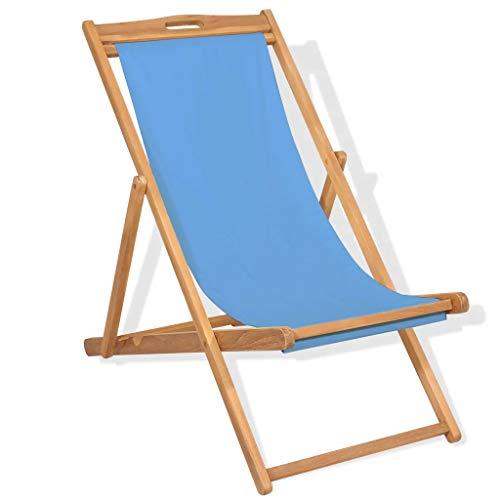 Cikonielf Tumbona de jardín plegable de madera maciza 56 x 105 x (85/96/105) cm Tumbona de madera de teca – Azul
