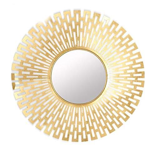YZH Full-length mirror Modern 3D Sunburst Metal Venetian Round Wall Mirror, Gold, 82 X 82cm