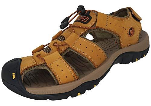 KEENPACE Sandalias Deportivas para Hombre Al Aire Libre Cuero Verano Playa Senderismo Zapatos Gold 41 EU