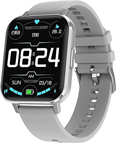 QHG Pantalla Grande Touch Full Touch Smart Watch para iOS y Android Modos Multi-Sports Activity Tracker Presión Arterial Oxígeno Fitness Tracker (Color : Gray)