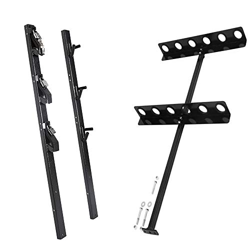 ELITEWILL 3 Place Lockable Weedeater Trimmer Rack and 6 Holes Hand Tool Rack for Open Landscape Trailer Truck