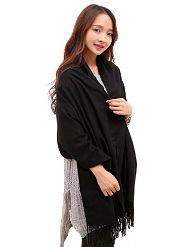 Anboor Super Soft Cashmere Blanket Scarf with Tassel Solid, Black, Size Large