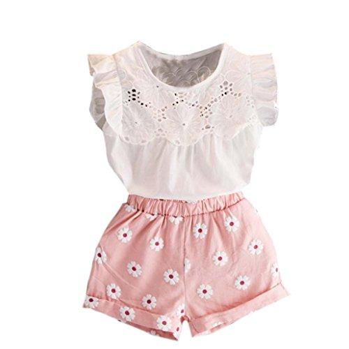 Kolylong® 1 Set (2-7 Jahre alt) Kleinkind Kinder Baby Mädchen Sommer Spitze gedruckt Outfits Kleidung (Tops+ Kurze Hosen) Sommerkleidung Mädchen Kleidung Set (120CM (5-6 Jahre alt), Rosa)