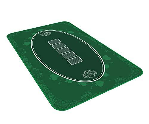 Bullets Playing Cards Alfombra de póquer verde de 100 x 60 cm, para tu propia mesa de póquer, paño de póquer, alfombra de póquer, alfombra de póquer