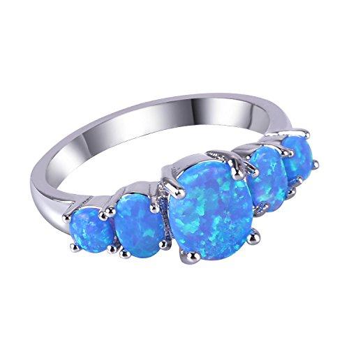 KELITCH Gioielli Blu Creato Opale Grappolo Pietre Preziose Anelli Argento 925 - Dimensioni (USA) 6 / (IT) 11, 12, 13