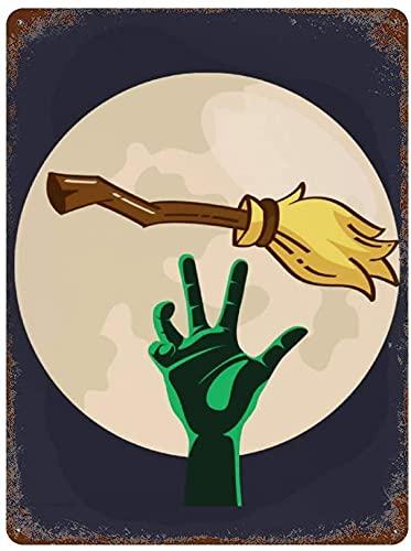 """Zombie Hand Magic Broom Happy Halloween Night Full Moon, cartel de chapa de metal vintage para decoración de pared, arte 11.8""""x7.9"""", decoración de pared de café familiar, pintura de arte retro, carte"""
