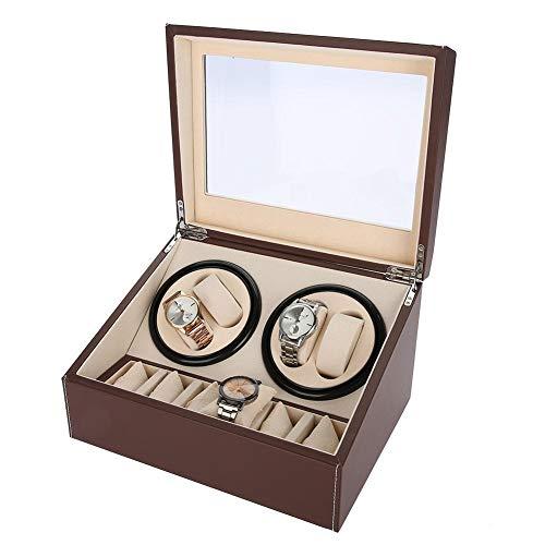 Estuche de Enrollador de Rotación Automática para Relojes, Caja de Almacenamiento para Relojes o Joyeria Organizadora y Exhibición, 4 + 6 Grids(#2)