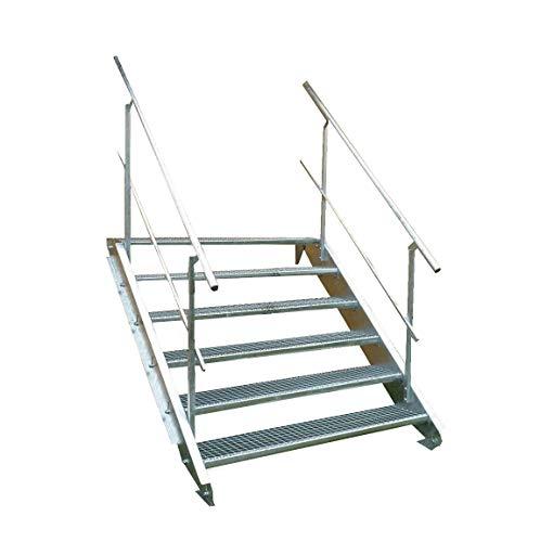 6 Stufen Stahltreppe mit beidseitigem Geländer/Breite 100 cm Geschosshöhe 90-120cm / Robuste Außentreppe/Wangentreppe/Stabile Industrietreppe für den Außenbereich/Inklusive Zubehör