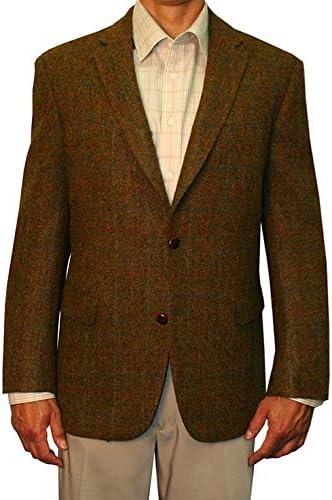 Jean-Paul Germain Harris Tweed 100% Wool Sportcoat - Burnt Orange Overplaid Herringbone