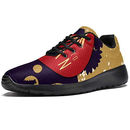 TIZORAX Sport-Laufschuhe für Herren, japanisches Poster Karte, modische Sneaker, Netzstoff, atmungsaktiv, Wandern, Tennisschuh, Mehrfarbig - mehrfarbig - Größe: 44 EU