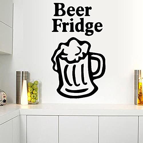 Pegatina de pared para botella de cerveza, vinilo para copa de vino, decoración de comedor, con cita de cerveza, nevera, decoración de refrigerador, extraíble, 57 x 100 cm
