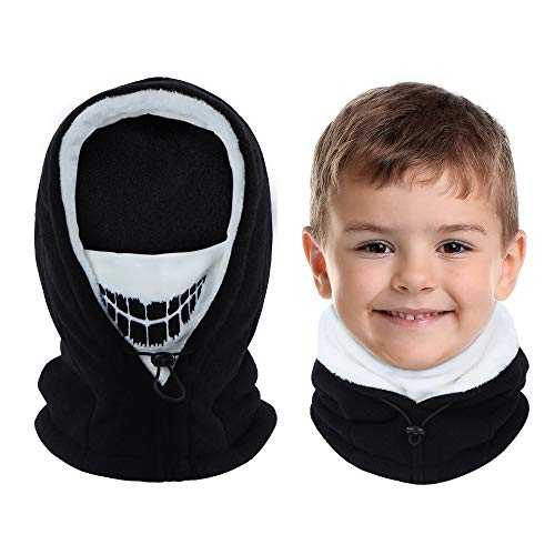 Vorshape Kids Balaclava Ski Mask, Cold Weather Fleece Face Mask with Hood, Windproof Outdoor Winter Hat for Boys & Girls Black