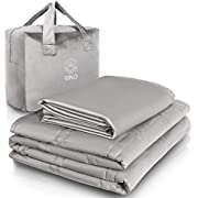 GnO Weighted Blanket Adult & Removable Bamboo Washable Cover | 9KG | 150 x 200 cm | UK King Size | 100% Organic Cotton Heavy Blanket | Helps With Anxiety,Insomnia & Stress- Light Gray