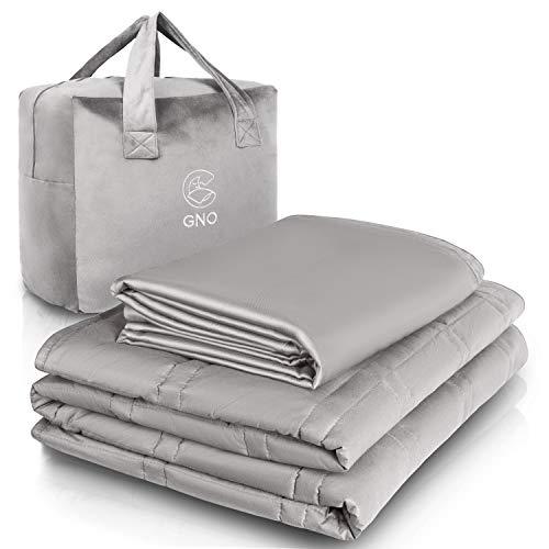 GnO Weighted Blanket -Manta Pesada para Adultos y Cubierta de Bambú 100% Orgánica - 6.8KG| 152x203cm -Manta Ponderada para Ansiedad, Insomnio o Estrés -Manta con Micro Perlas de Vidrio-Gris Claro