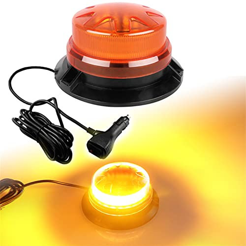 Linterna Luces de tráfico de emergencia brillante para vehículos Luces de advertencia de estroboscopio ámbar para camiones Coches de 12V-24V Barra de luz Montaje magnético (Emitting Color : Amber)