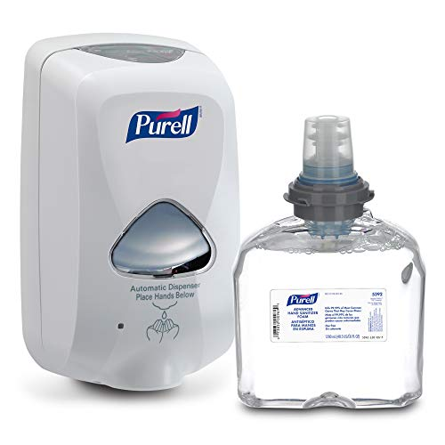 PURELL Advanced Hand Sanitizer Foam TFX Starter Kit, 1 - 1200 mL Foam Hand Sanitizer Refill + 1 - PURELL TFX Dove Grey Touch-Free Dispenser – 5392-D1,White Dispenser