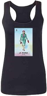 Pop Threads La DAMA Woman Lady Loteria Card Mexican Bingo Fashion Tank Top Tee for Women