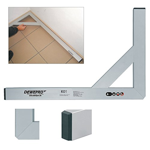 DEWEPRO® Premium Aluminium Bauwinkel 90° - Winkel - Maurerwinkel - Messwinkel - Profilwinkel - Aluwinkel, extra stabil mit Strebe - 150x80cm