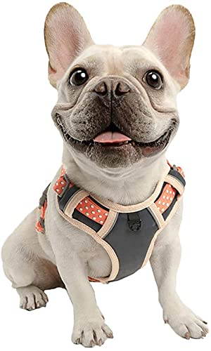 Arnés de Perro Sin tirón, Chaleco de Senderismo Reflectante para Mascotas, Nylon Transpirable Ajustable, operación Simple, Perros pequeños, medianos-Naranja_Pequeña