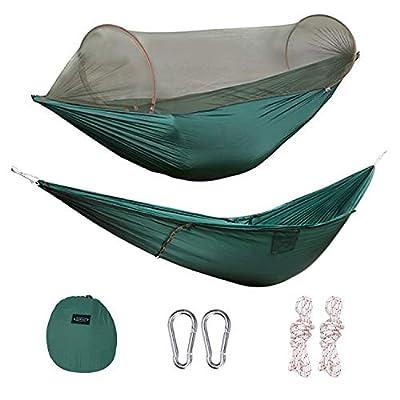 G4Free Portable Camping Hammock Net Hammock Tent Capacity 400 Pounds Outdoor Foldable Tree Hammocks(110x50 inch)(Deep Green)