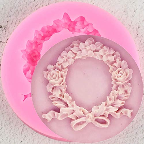 SKJH Flower Wreath Border Silicone Mold Rose Garland Cupcake Topper Cake Decorating Tools Candy Clay Chocolate Mould