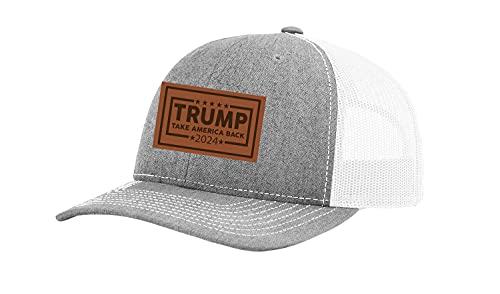 Trenz Shirt Company Boné Political Trump Take America Back 2024 bordado de couro caminhoneiro, Cinza/Branco mesclado., tamanho �nico