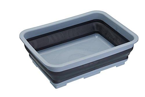 KitchenCraft MasterClaß Smart Space faltbare Spülschüssel/Spülbecken aus Kunststoff, 7 Liter, Plastik, Schwarz/Grau, 27 x 37 x 11.5 cm, 1 Einheiten