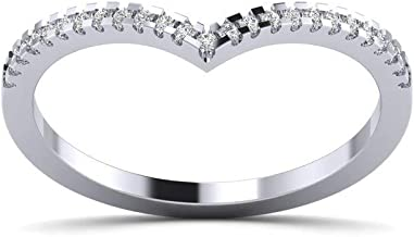 Fehu Jewel 0.13cts Natural Diamond Gold Over Sterling Silver Diamond Ring for Women (White-Gold-Plated-Silver, 7)