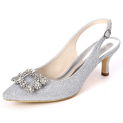 Zapatos De Novia Mujer Diamante de imitación Glitter Slingback Tacón Alto Puntiagudo...