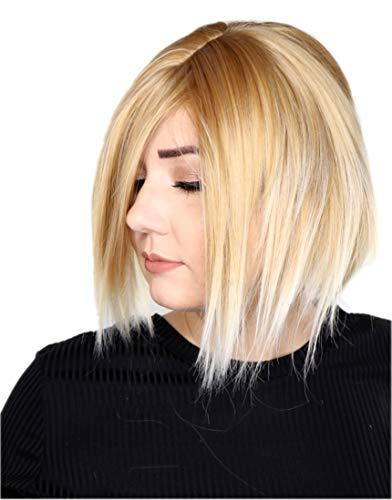 Prettyland kurze Sleek Stufen-schnitt glatte Unisex Scheitel Perücke Wig natürlich für Alltag Blond gesträhnt C1232