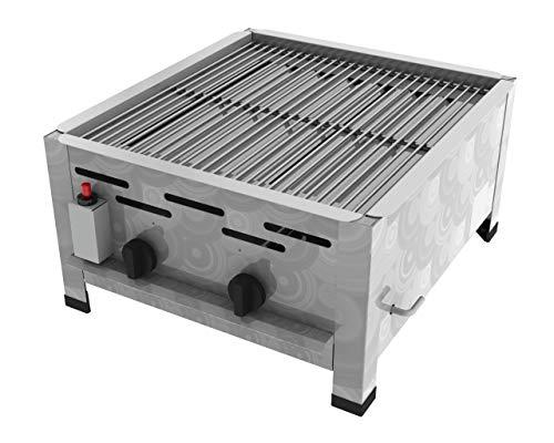 ChattenGlut Professional Gastrobräter 2-flammig Tischgerät Edelstahl Stahlbrenner für Flüssiggas 480x530x270mm (7,3kW Rost)