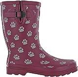 Botas TOSH Wellingtons para mujer Festival Wellies de goma impresa de pantorrilla ancha ajustable hebilla perro cráneo caminar botas Reino Unido 3-9, color Morado, talla 42 EU