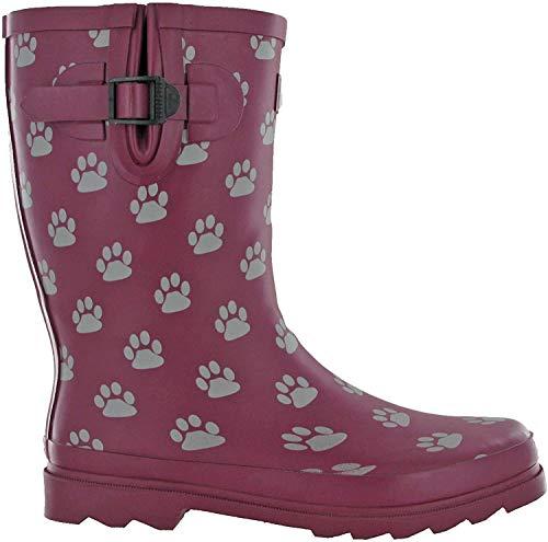 Botas TOSH Wellingtons para mujer Festival Wellies de goma estampadas ancho pantorrilla ajustable hebilla perro cráneo botas de caminar Reino Unido 3-9, color Morado, talla 36 EU