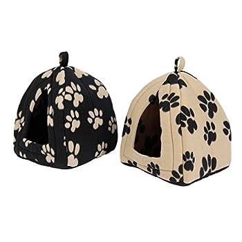 OHANA Maison Niche pour Chien Chat avec Coussin Amovible, Dôme Chat Pliable et Confortable Jaune 40 * 32 * 32cm