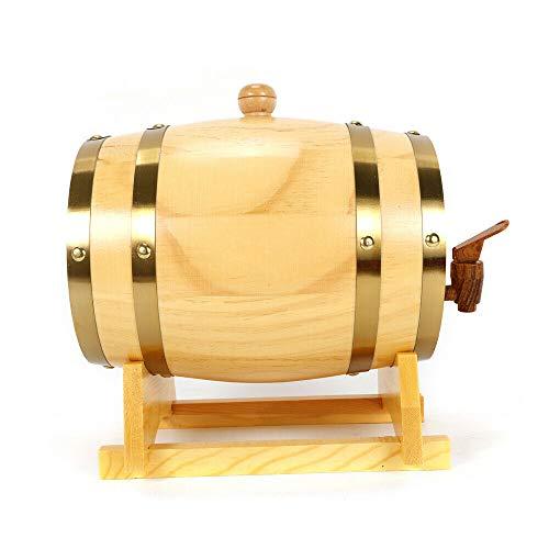 Pine Barrel Wooden Barrel Weinspender, Weinbier Spirituosen Lagerung mit Halter für Lagerung oder Alterung Wein Spirituosen Weinfässer (3L)