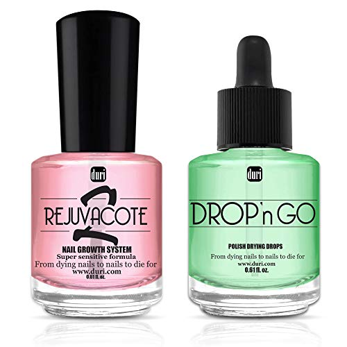 duri Rejuvacote 2 Nail Growth System Base and Top Coat, Drop'n Go Nail Polish Drying Drops - Nails Hardening, Growth, Damage Repair, Chipping, Breaking and Brittle Treatment Combo (0.61 fl.oz)