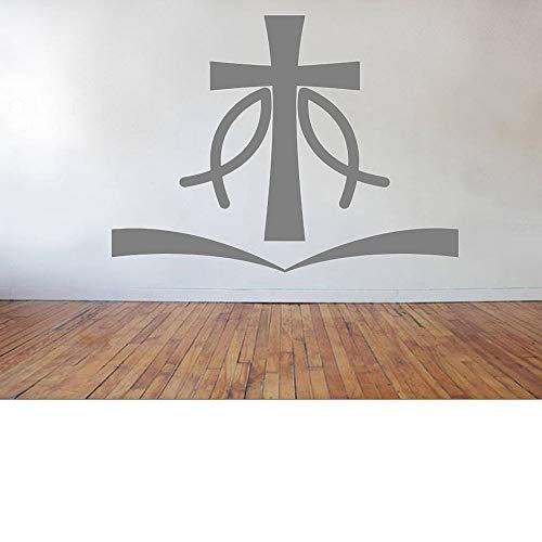 yaoxingfu Jesus Fisch Kreuz Wandaufkleber Christian Liefert Dekorative Aufkleber Abnehmbare Vinyl Wohnzimmer Wanddekor Wandtattoo ww-2 56x42 cm