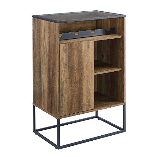 Walker Edison Mid Century Modern Wood and Glass Bar Cabinet Entryway Serving Storage Cabinet Doors Dining Room Console, 24 Inch, Rustic Oak